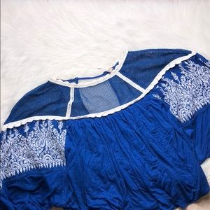 FREE PEOPLE ROYAL BLUE EMBROIDERED BOHO TOP M